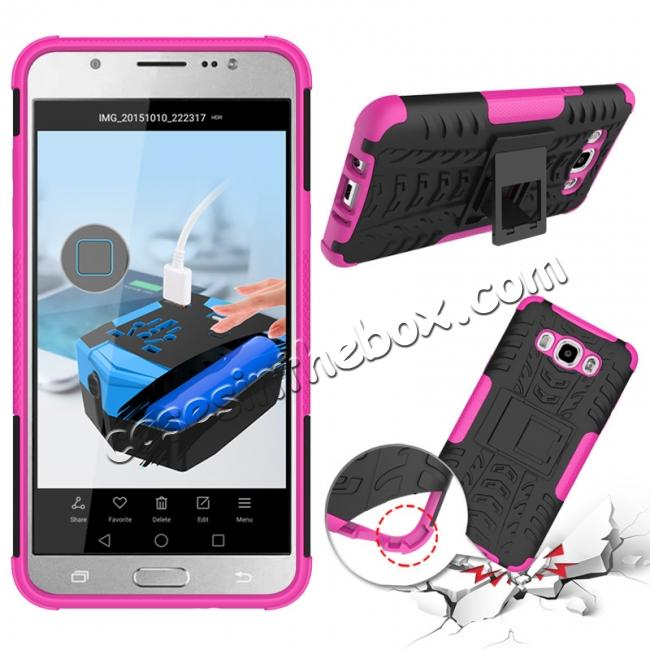 discount Hybrid Dual Layer Armor Defender Case with Stand For Samsung Galaxy J7 (2016) J710 - Hot pink