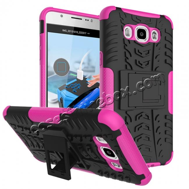 wholesale Hybrid Dual Layer Armor Defender Case with Stand For Samsung Galaxy J7 (2016) J710 - Hot pink