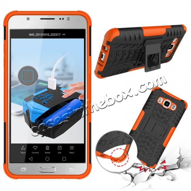 discount Hybrid Dual Layer Armor Defender Case with Stand For Samsung Galaxy J7 (2016) J710 - Orange