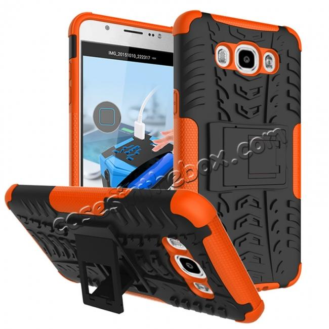 wholesale Hybrid Dual Layer Armor Defender Case with Stand For Samsung Galaxy J7 (2016) J710 - Orange