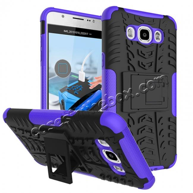 wholesale Hybrid Dual Layer Armor Defender Case with Stand For Samsung Galaxy J7 (2016) J710 - Purple