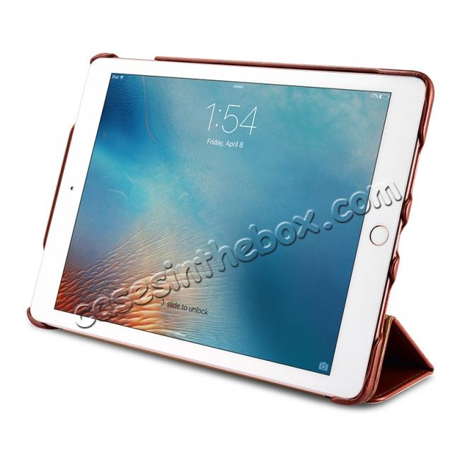 cheap ICARER Vintage Series Genuine Leather Smart Stand Case For Apple iPad Pro 9.7inch - Brown