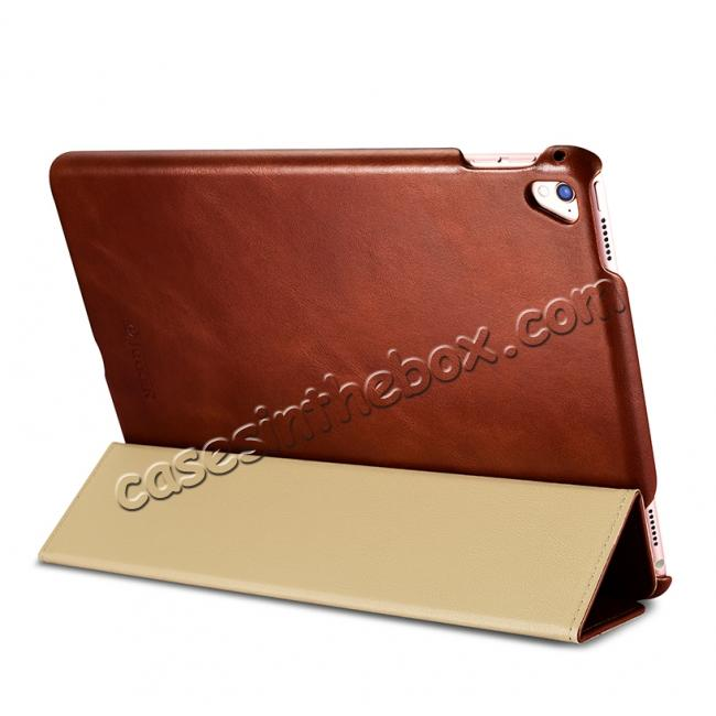 top quality ICARER Vintage Series Genuine Leather Smart Stand Case For Apple iPad Pro 9.7inch - Brown