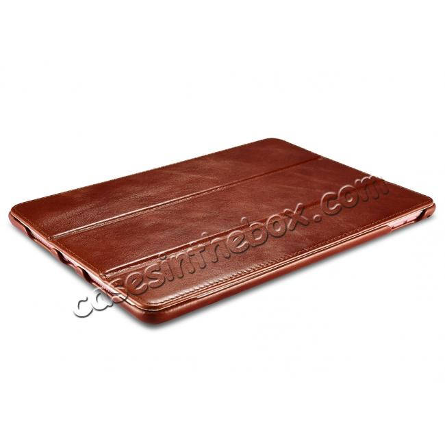 on sale ICARER Vintage Series Genuine Leather Smart Stand Case For Apple iPad Pro 9.7inch - Brown