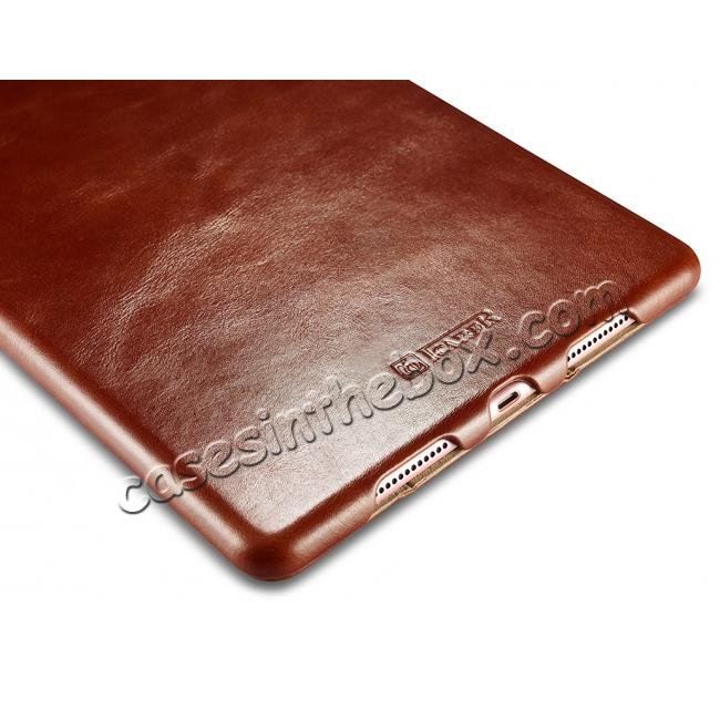 low price ICARER Vintage Series Genuine Leather Smart Stand Case For Apple iPad Pro 9.7inch - Brown
