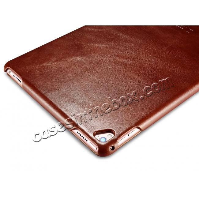 china wholesale ICARER Vintage Series Genuine Leather Smart Stand Case For Apple iPad Pro 9.7inch - Brown