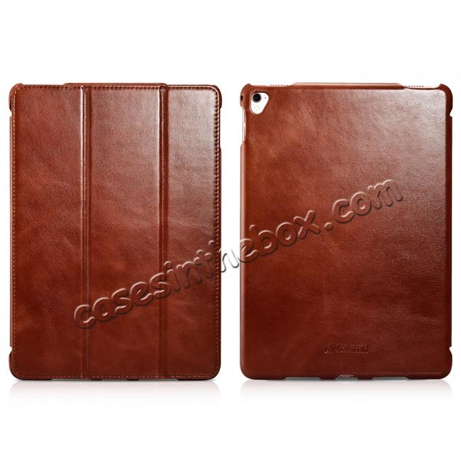 discount ICARER Vintage Series Genuine Leather Smart Stand Case For Apple iPad Pro 9.7inch - Brown