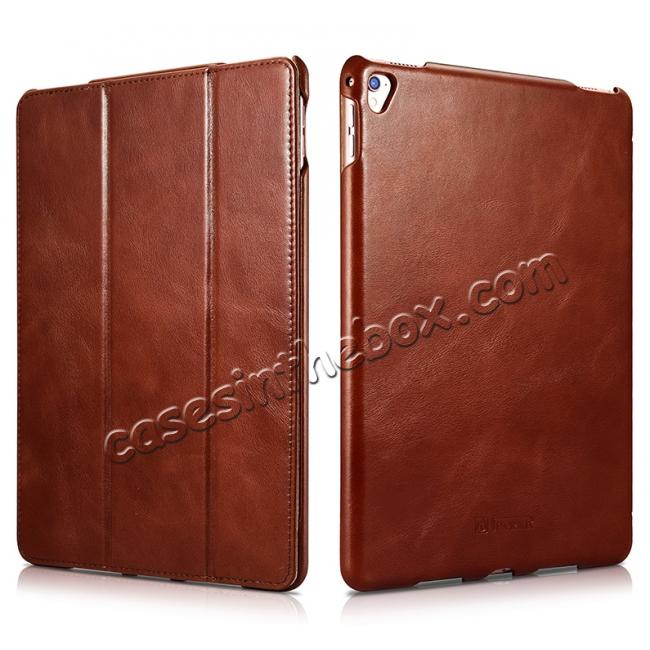 wholesale ICARER Vintage Series Genuine Leather Smart Stand Case For Apple iPad Pro 9.7inch - Brown