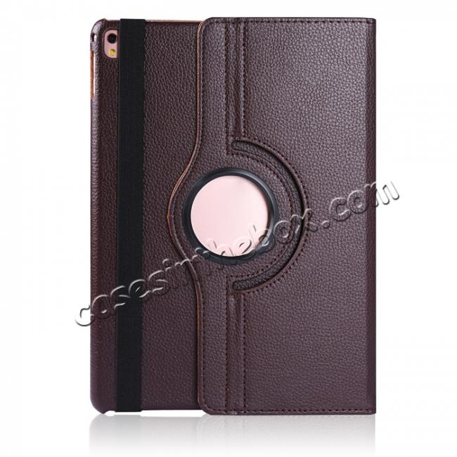cheap Litchi Grain 360° Rotating Folio Stand Smart PU Leather Case Cover For 9.7-inch iPad Pro - Brown