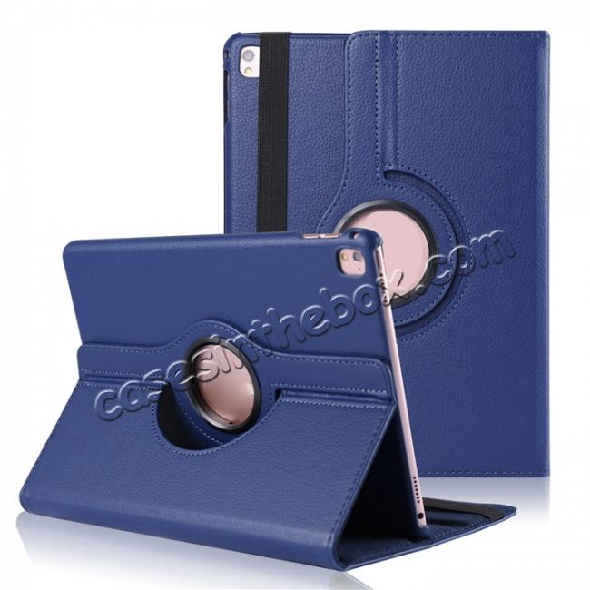 wholesale Litchi Grain 360° Rotating Folio Stand Smart PU Leather Case Cover For 9.7-inch iPad Pro - Dark Blue