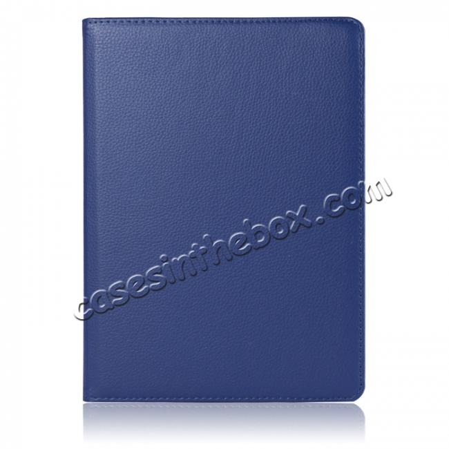 discount Litchi Grain 360° Rotating Folio Stand Smart PU Leather Case Cover For 9.7-inch iPad Pro - Dark Blue