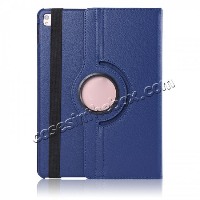 cheap Litchi Grain 360° Rotating Folio Stand Smart PU Leather Case Cover For 9.7-inch iPad Pro - Dark Blue
