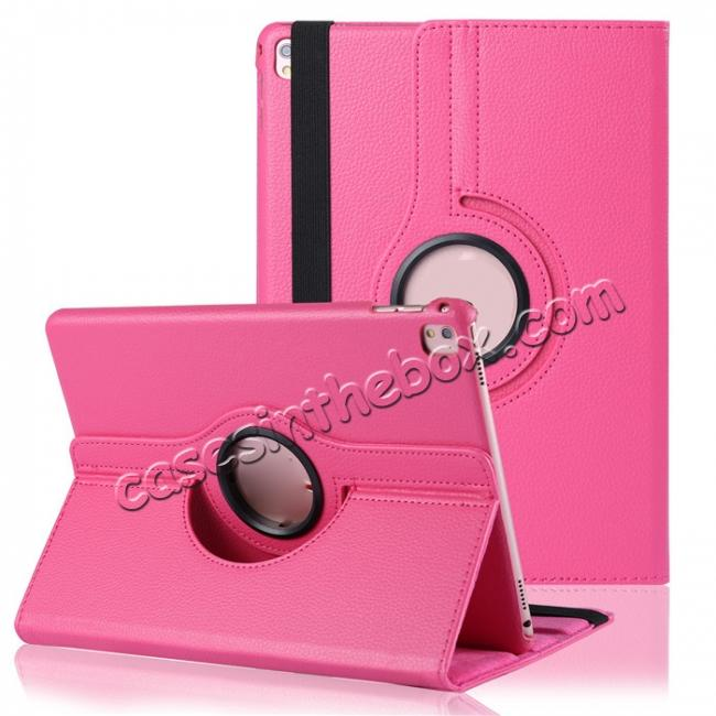 wholesale Litchi Grain 360° Rotating Folio Stand Smart PU Leather Case Cover For 9.7-inch iPad Pro - Hot Pink
