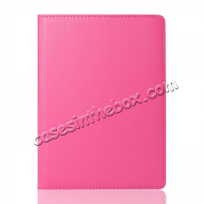 discount Litchi Grain 360° Rotating Folio Stand Smart PU Leather Case Cover For 9.7-inch iPad Pro - Hot Pink