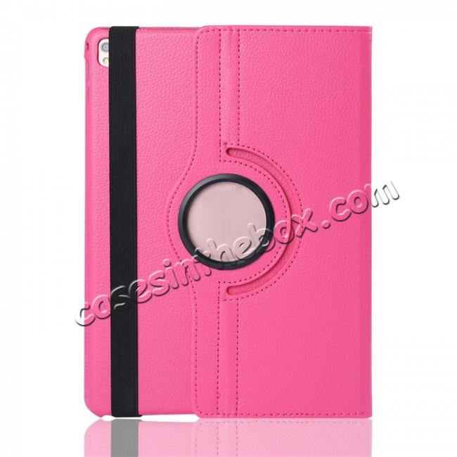cheap Litchi Grain 360° Rotating Folio Stand Smart PU Leather Case Cover For 9.7-inch iPad Pro - Hot Pink