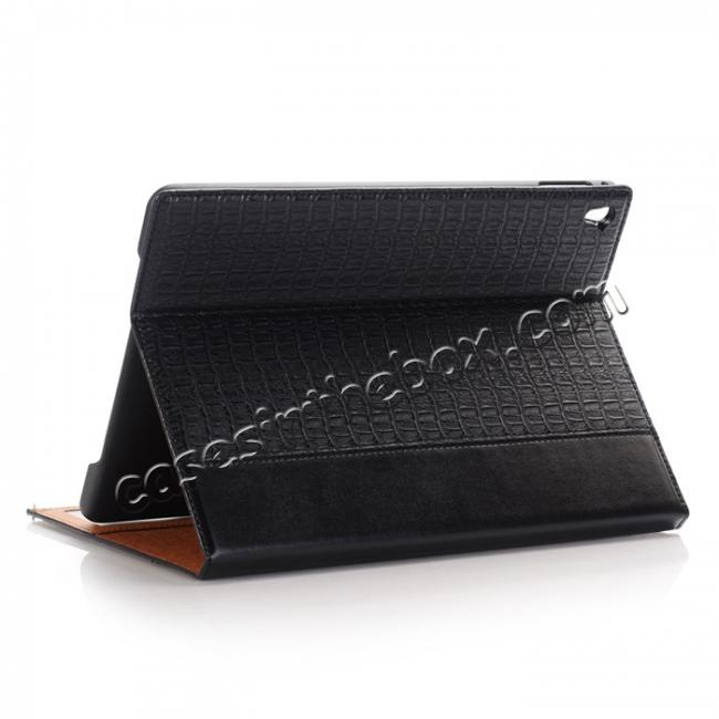 wholesale Luxury Crocodile Folding Folio Smart Cover Leather Case For 9.7-inch iPad Pro - Black