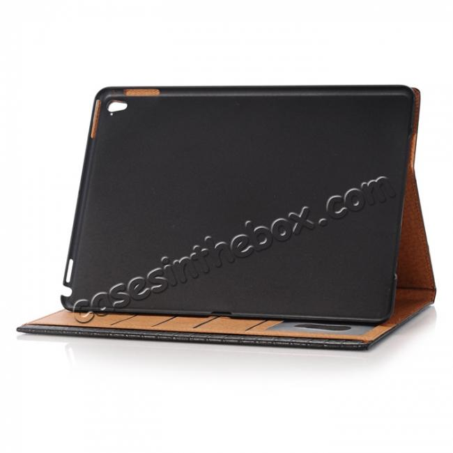 on sale Luxury Crocodile Folding Folio Smart Cover Leather Case For 9.7-inch iPad Pro - Black