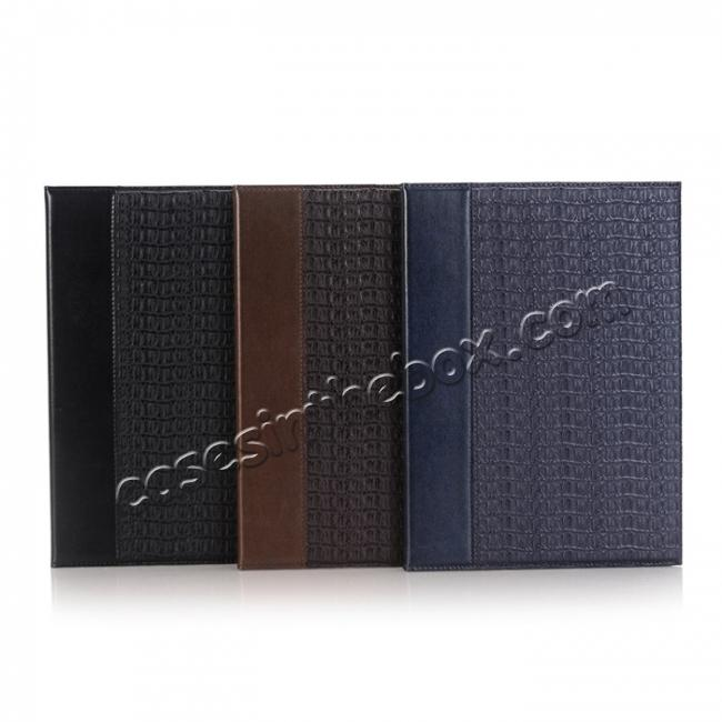 low price Luxury Crocodile Folding Folio Smart Cover Leather Case For 9.7-inch iPad Pro - Black