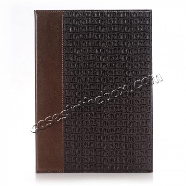 discount Luxury Crocodile Folding Folio Smart Cover Leather Case For 9.7-inch iPad Pro - Brown