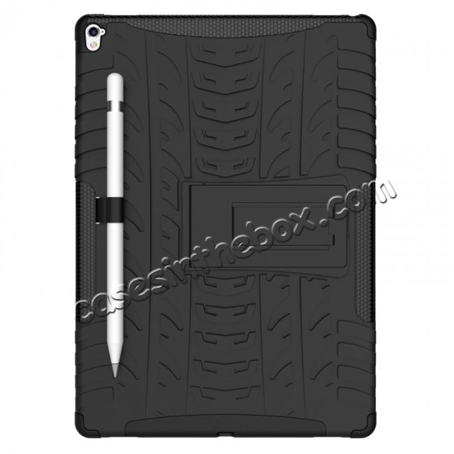 discount Hyun Texture ShockProof Dual Layer Hybrid Stand Protective Case For iPad Pro 9.7inch - Black