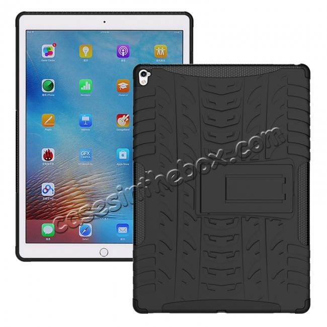 wholesale Hyun Texture ShockProof Dual Layer Hybrid Stand Protective Case For iPad Pro 9.7inch - Black