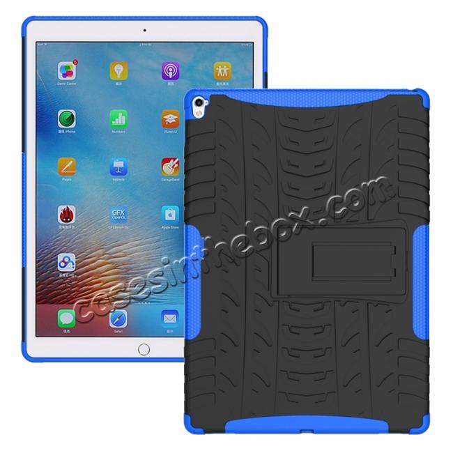 wholesale Hyun Texture ShockProof Dual Layer Hybrid Stand Protective Case For iPad Pro 9.7inch - Blue