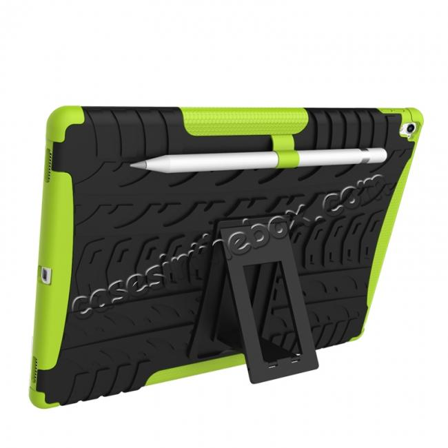 discount Hyun Texture ShockProof Dual Layer Hybrid Stand Protective Case For iPad Pro 9.7inch - Green