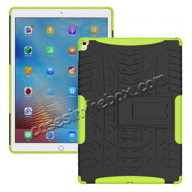 wholesale Hyun Texture ShockProof Dual Layer Hybrid Stand Protective Case For iPad Pro 9.7inch - Green