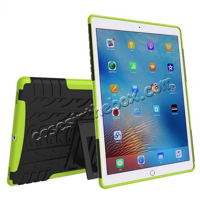 cheap Hyun Texture ShockProof Dual Layer Hybrid Stand Protective Case For iPad Pro 9.7inch - Green