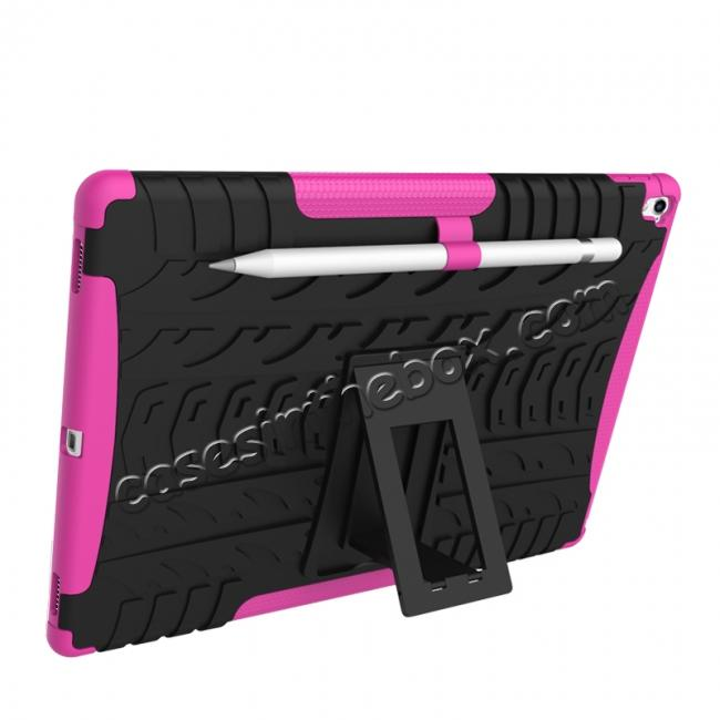 discount Hyun Texture ShockProof Dual Layer Hybrid Stand Protective Case For iPad Pro 9.7inch - Hot pink