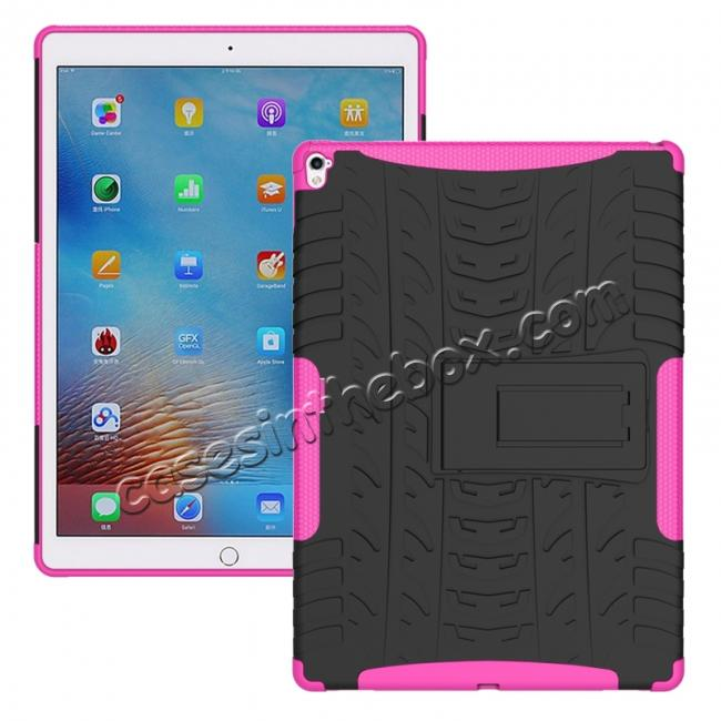 wholesale Hyun Texture ShockProof Dual Layer Hybrid Stand Protective Case For iPad Pro 9.7inch - Hot pink