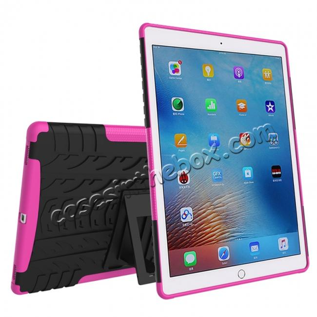 cheap Hyun Texture ShockProof Dual Layer Hybrid Stand Protective Case For iPad Pro 9.7inch - Hot pink