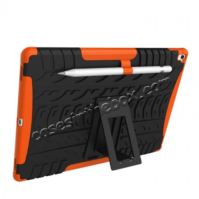 discount Hyun Texture ShockProof Dual Layer Hybrid Stand Protective Case For iPad Pro 9.7inch - Orange