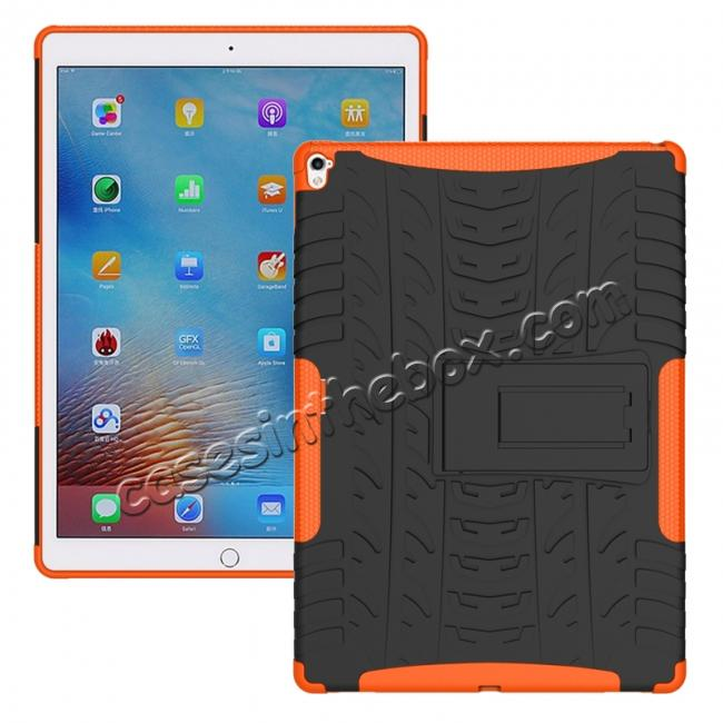 wholesale Hyun Texture ShockProof Dual Layer Hybrid Stand Protective Case For iPad Pro 9.7inch - Orange