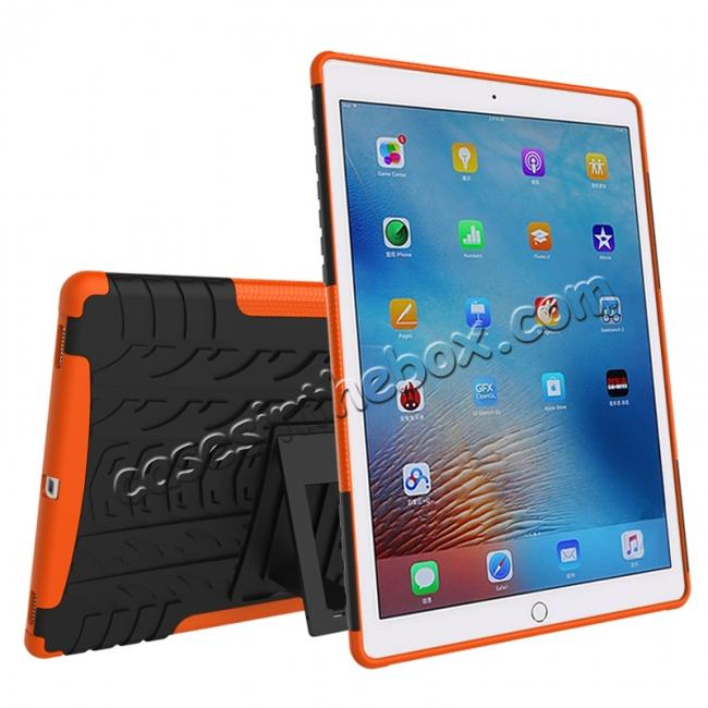 cheap Hyun Texture ShockProof Dual Layer Hybrid Stand Protective Case For iPad Pro 9.7inch - Orange