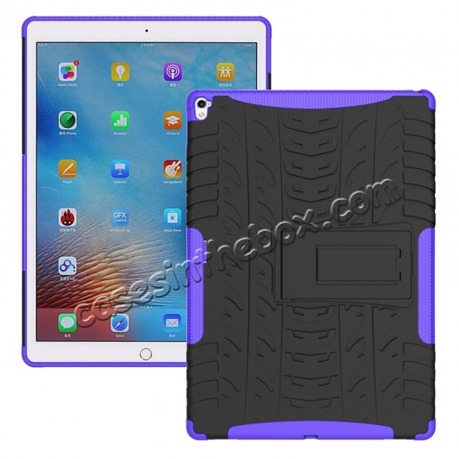 wholesale Hyun Texture ShockProof Dual Layer Hybrid Stand Protective Case For iPad Pro 9.7inch - Purple