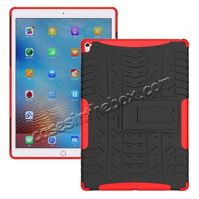 wholesale Hyun Texture ShockProof Dual Layer Hybrid Stand Protective Case For iPad Pro 9.7inch - Red