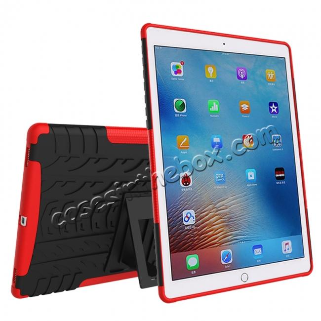 cheap Hyun Texture ShockProof Dual Layer Hybrid Stand Protective Case For iPad Pro 9.7inch - Red