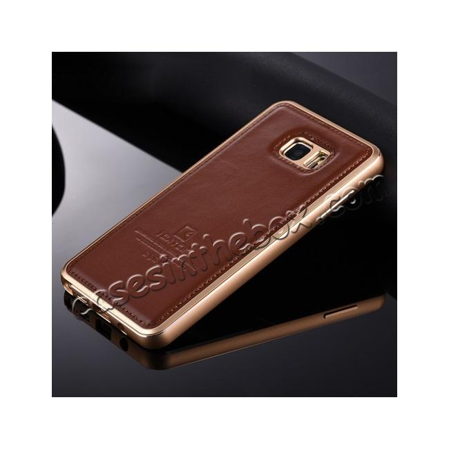 wholesale Luxury Aluminum Metal Case + Genuine Leather Case Cover For Samsung Galaxy Note 5 - Brown/Champagne