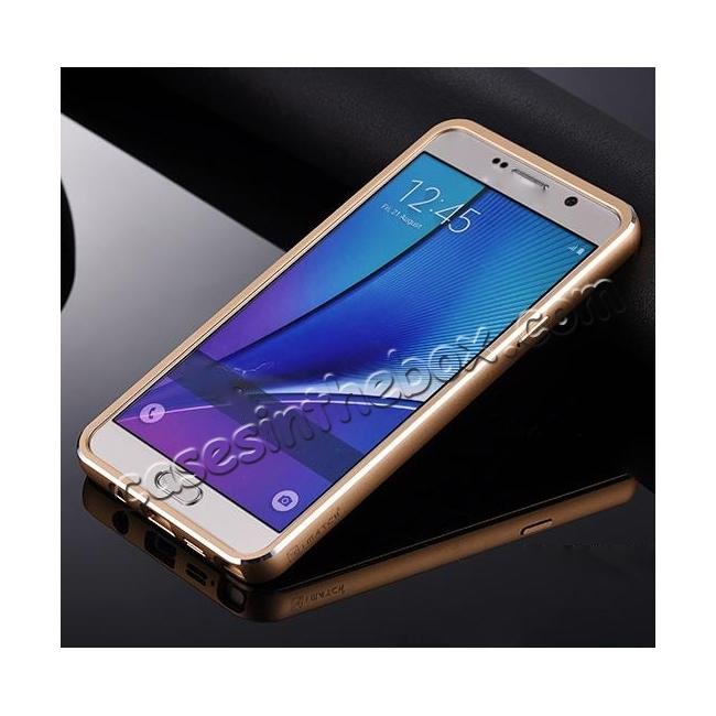 discount Luxury Aluminum Metal Case + Genuine Leather Case Cover For Samsung Galaxy Note 5 - Brown/Champagne