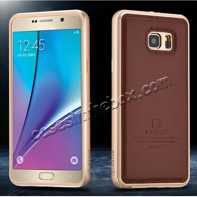 top quality Luxury Aluminum Metal Case + Genuine Leather Case Cover For Samsung Galaxy Note 5 - Brown/Champagne