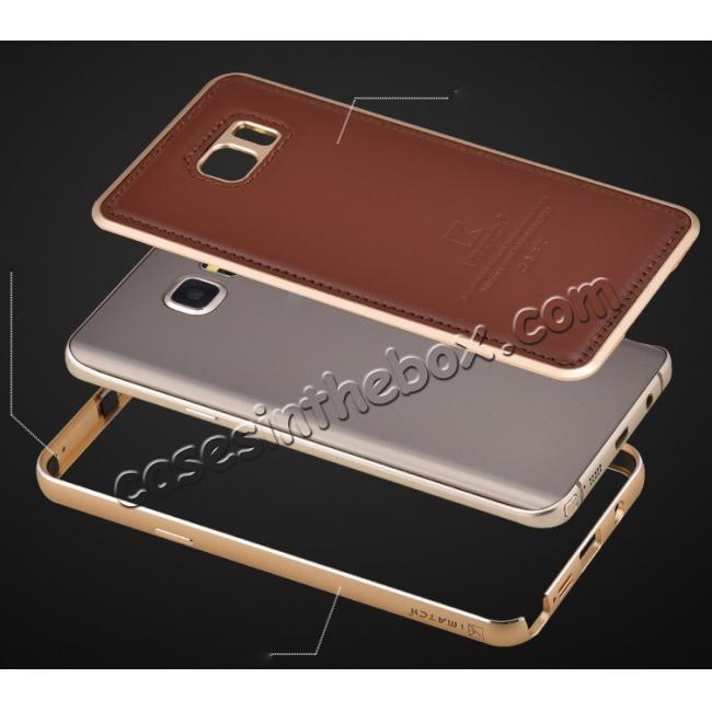 best price Luxury Aluminum Metal Case + Genuine Leather Case Cover For Samsung Galaxy Note 5 - Brown/Champagne