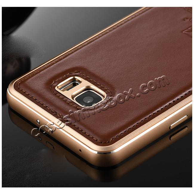 low price Luxury Aluminum Metal Case + Genuine Leather Case Cover For Samsung Galaxy Note 5 - Brown/Champagne