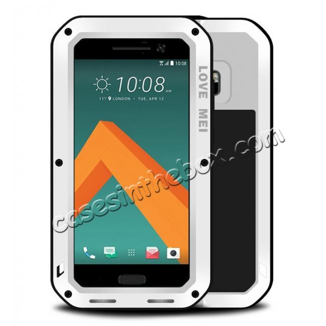 wholesale Rubber Aluminum Metal Gorilla Glass ShockProof Case Cover For HTC One M10 - White