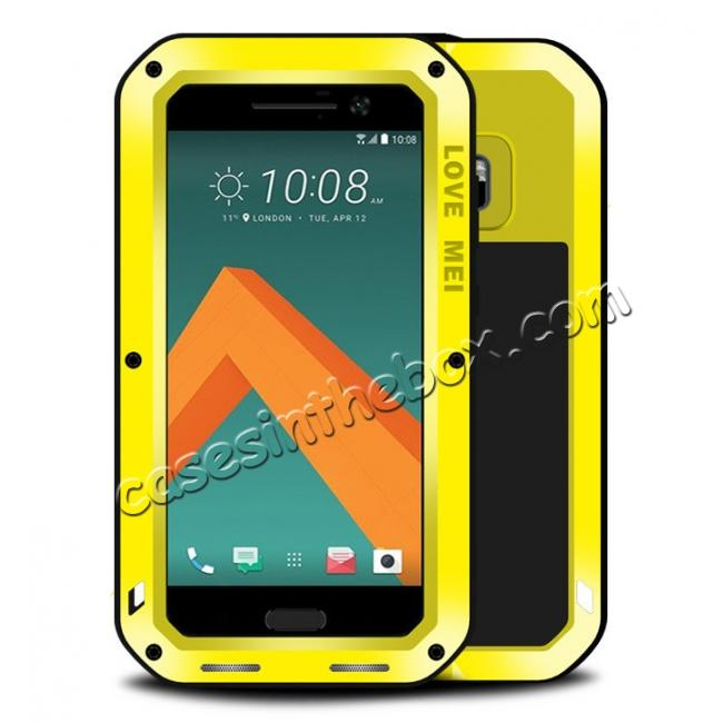 wholesale Rubber Aluminum Metal Gorilla Glass ShockProof Case Cover For HTC One M10 - Yellow