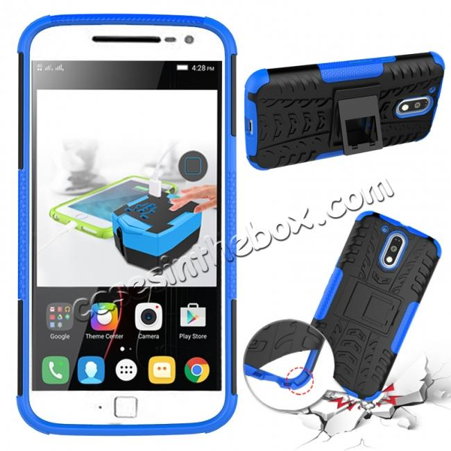 discount Shockproof Hybrid Dual Layer Protective Case Kickstand Cover for Motorola MOTO G4 Plus - Blue