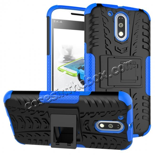 wholesale Shockproof Hybrid Dual Layer Protective Case Kickstand Cover for Motorola MOTO G4 Plus - Blue