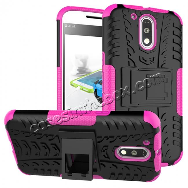 wholesale Shockproof Hybrid Dual Layer Protective Case Kickstand Cover for Motorola MOTO G4 Plus - Hot pink