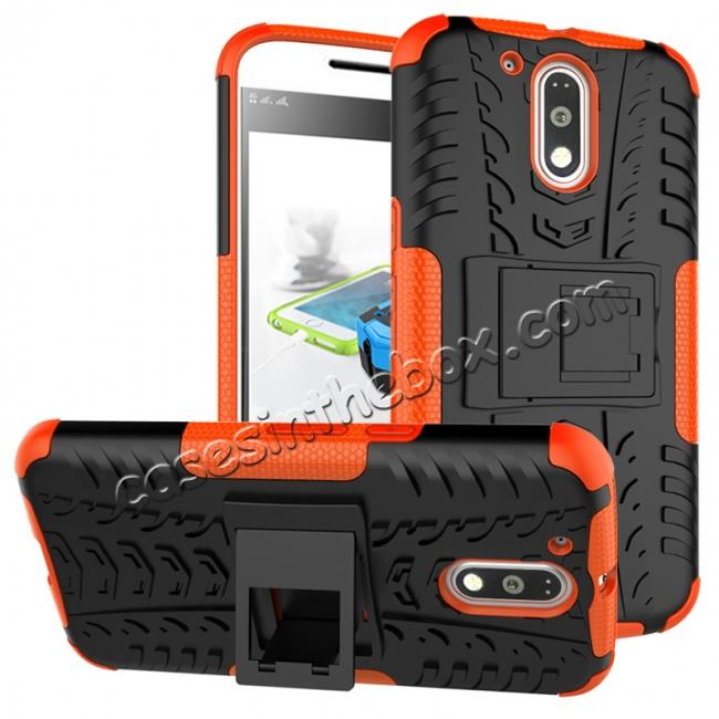 wholesale Shockproof Hybrid Dual Layer Protective Case Kickstand Cover for Motorola MOTO G4 Plus - Orange