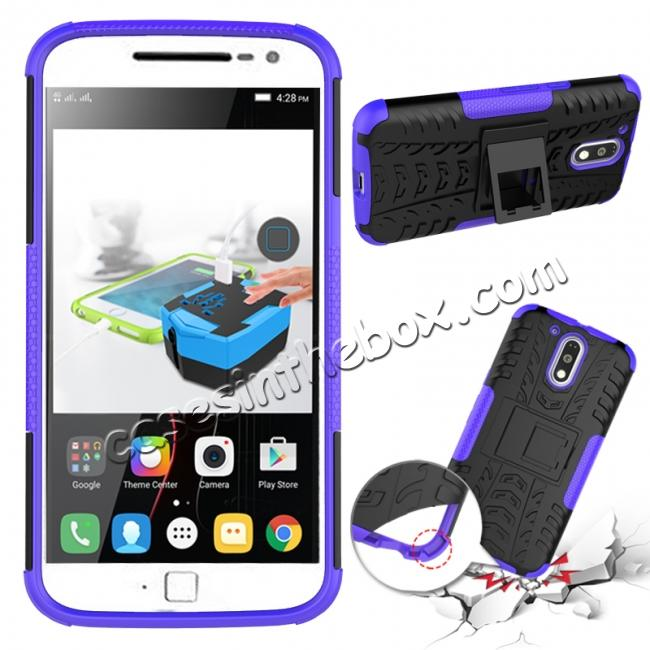 discount Shockproof Hybrid Dual Layer Protective Case Kickstand Cover for Motorola MOTO G4 Plus - Purple